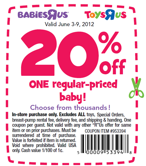 20 percent off babies at Toys R Us