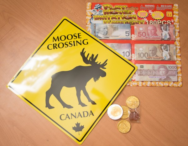 Canadian candy money and sign